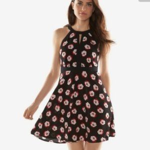 Elle Fit and Flare Floral Halter Dress